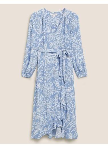 Marks & Spencer Desenli Anvelop Elbise Mavi